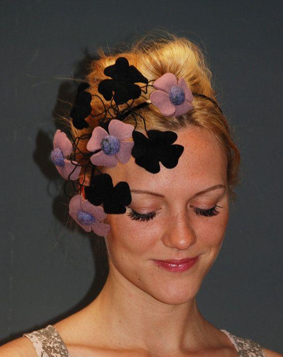 Fascinator hat headpiece / Pink fascinator / Black by MargeIilane, $59.90