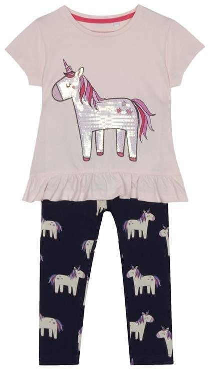 e0a40bcd4 BLUE ZOO bluezoo - Girls  Pink Sequinned Unicorn Top And Leggings Set.  Affiliate  unicorn  outfit