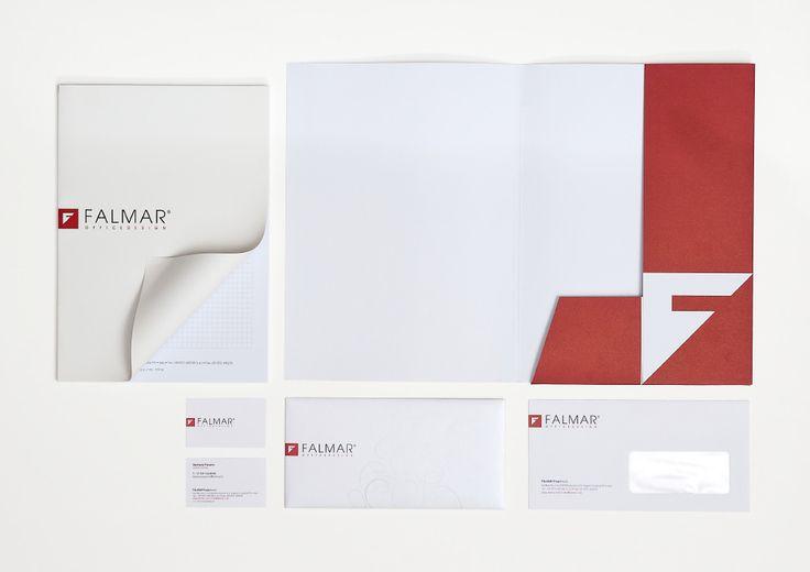 Falmar Project Progetto grafico intestati Biglietti da visita, busta lettera, cartella portadocumenti, block notes, adesivi corriere, adesivi campioni, shopper e box cataloghi