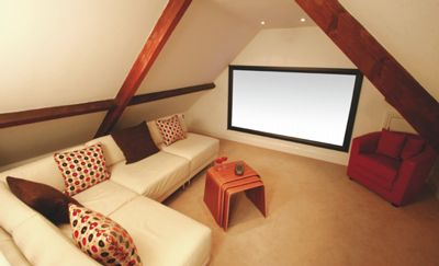 Attic Home Theater Design Idea