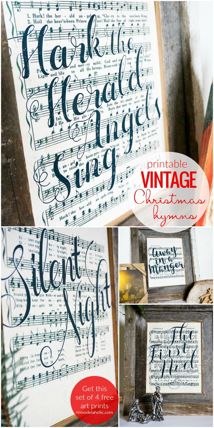 Add some classic holiday cheer to your decorating with this free set of vintage Christmas music printables. Four classic Christmas hymns in a farmhouse-style black and white art print.