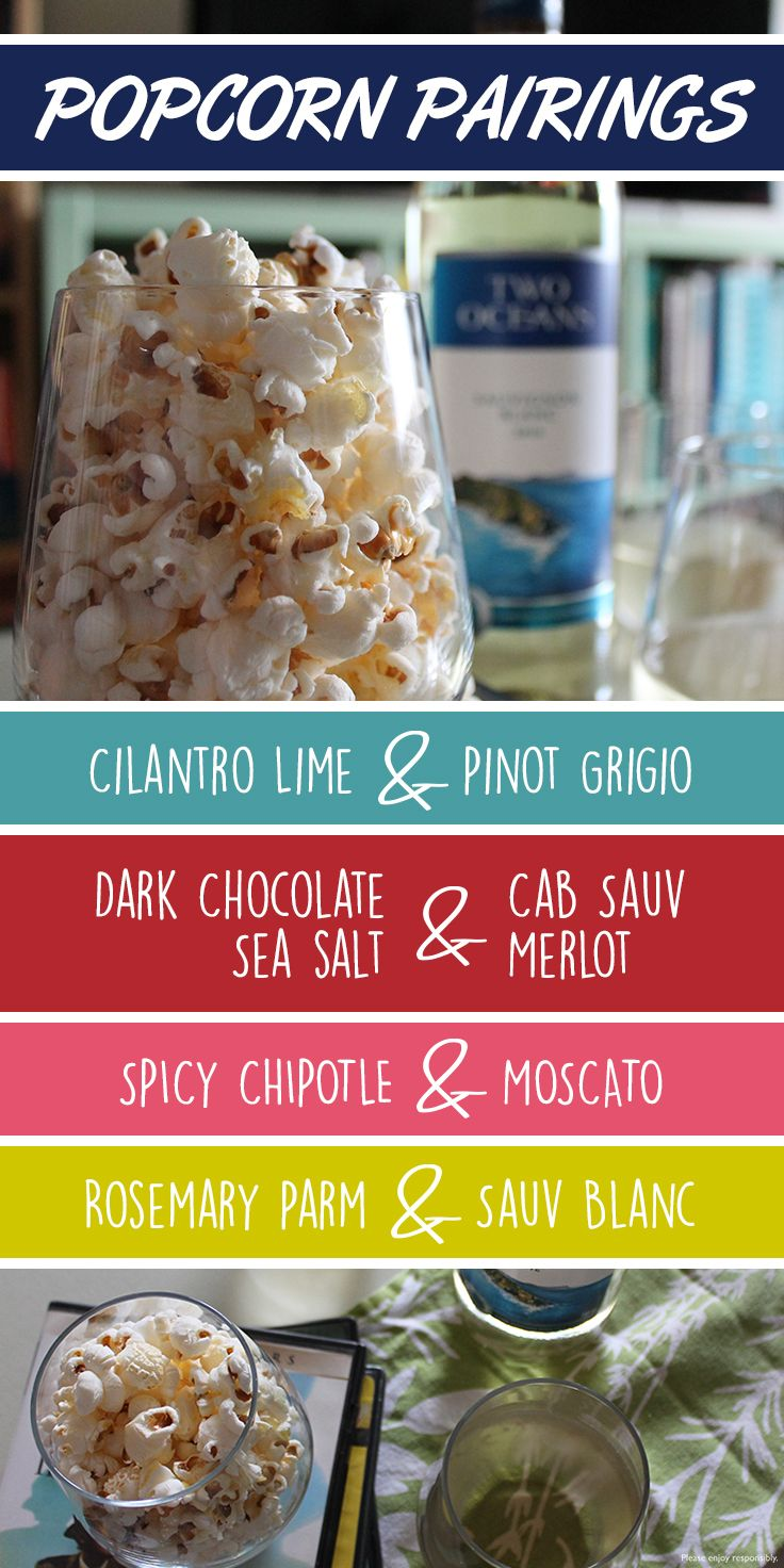 Popcorn, get your popcorn! Why not pair your favourite wine with a twist on your favourite snack? With so many flavours to choose from, movie night will never be the same!