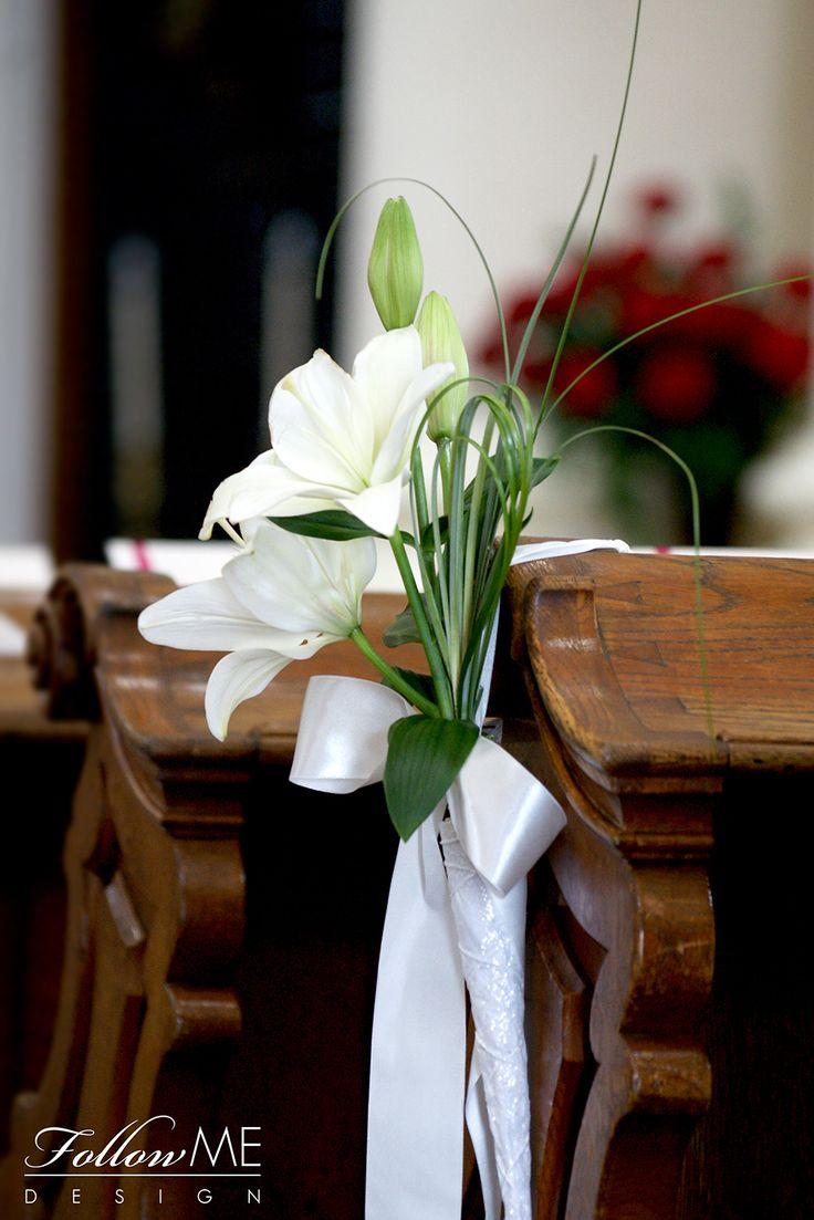 Dekoracja ław / Dekoracja Kościoła / Eleganckie białe dekoracje Kościoła od FollowMe DESIGN / Elegant White Church Decorations & Details by FollowMe DESIGN
