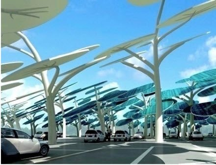 Solar Panel Forest – parking lot of the future has solar panel forest to recharge cars.    Naturawl Being  http://www.ecoshopper.net/2009/green-transportation/parking-lot-of-the-future-has-solar-panel-forest-to-recharge-cars/