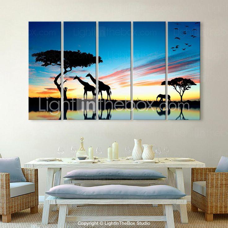 opgespannen doek zijt de Afrikaanse graslanden versiering silhouet set van 5 - EUR € 103.14