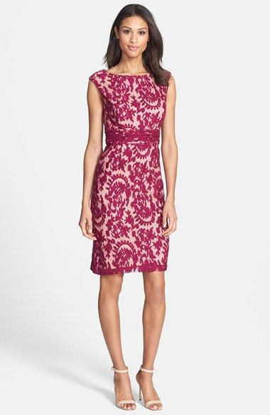 Adrianna Papell Lace Overlay Sheath Dress (Regular & Petite) available at #Nordstrom