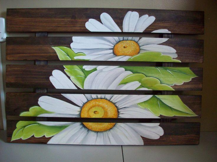 quadro rustico de margaridas coisas r sticas pinterest margaridas madeira e pinturas em. Black Bedroom Furniture Sets. Home Design Ideas