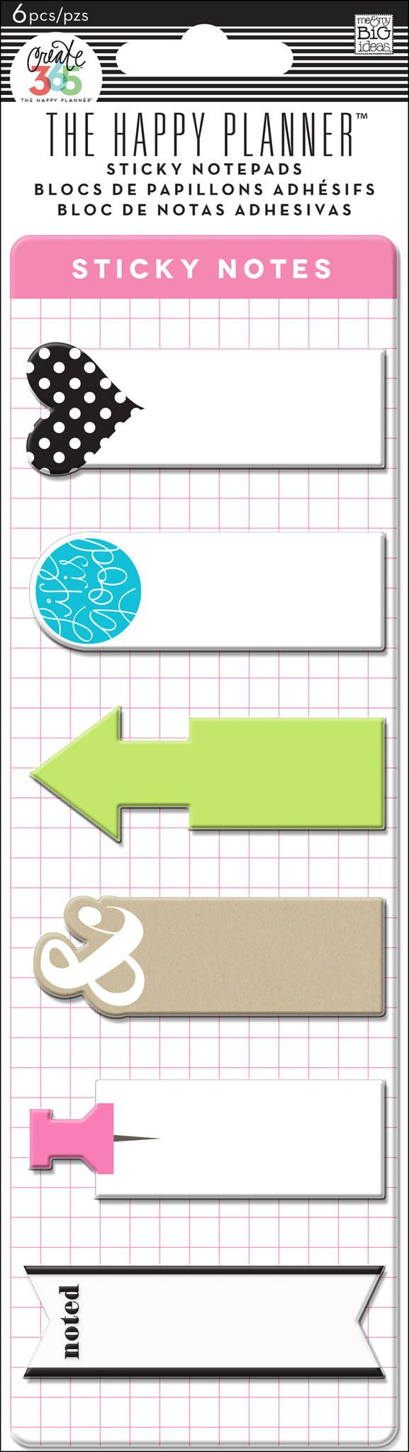 Sticky notes are the perfect accessory when you need to rearrange your schedule or to do list. Each package includes: - 6 designs with 20 self-adhesive notes per design. Item #:POSM-03
