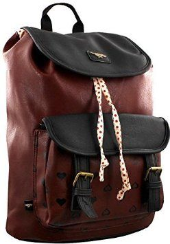 Rocket Dog Leatherette Casual Daypack Rucksack / Bluebell Backpack for Woman in Burgundy