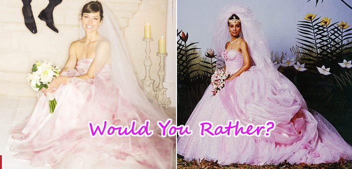 Jessica biel 39 s pink wedding dress vs lisa 39 s from coming for Coming to america wedding dress