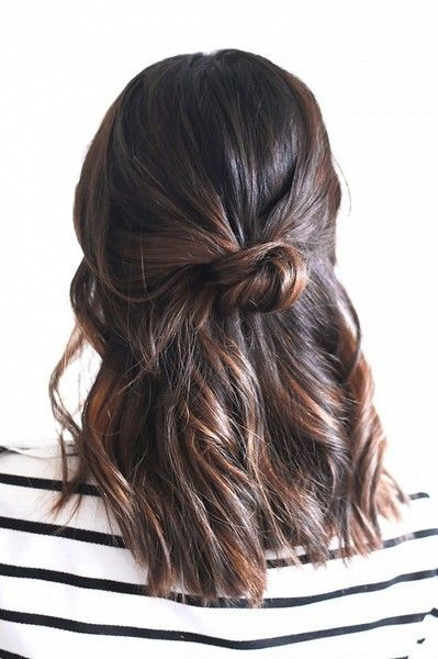 We Found the 21 Best Lazy Girl Hairstyles on Pinterest, So You Don't Have To | Half-Up Knot