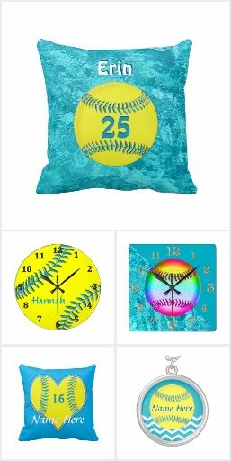 Personalized Turquoise Softball Room Decor and Gifts. More Softball Gifts HERE: http://www.zazzle.com/littlelindapinda/gifts?cg=196344936727049023&rf=238147997806552929 Here are a few Softball Decor on our website: http://giftsforcreativepeople.com/personalized-softball-room-decor-for-girls/ LOTS of cute personalized softball gifts for girls. Call Linda for Design Changes and HELP personalizing: 239-949-9090