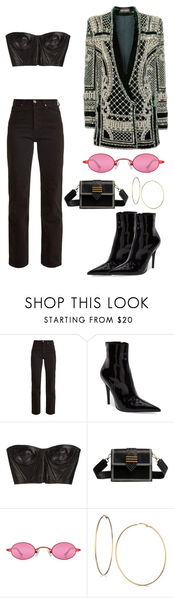 """Untitled #2452"" by dani-gracik on Polyvore featuring Eve Denim, Jeffrey Campbell, Balmain and GUESS"