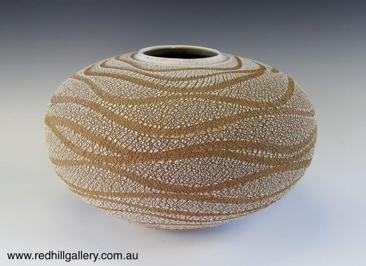 Bill Powell 'Pink Textured Porcelain Blossom Vase' 40x25cm. 61 Musgrave Road, Red Hill Brisbane, QLD, Australia. art@redhillgallery.com.au