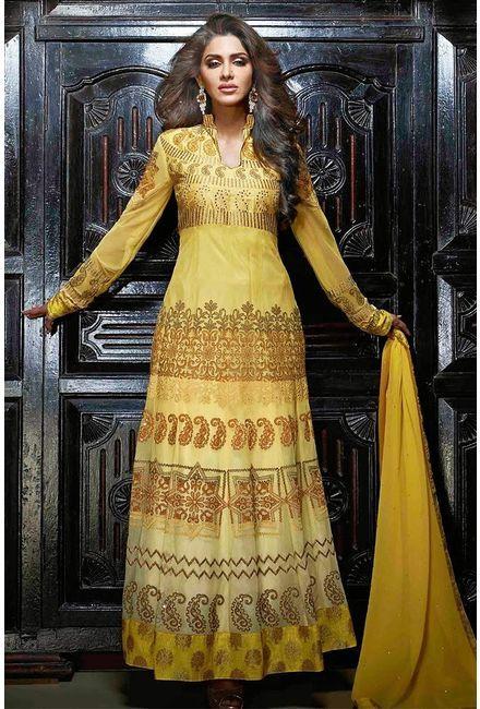 Yellow Georgette Salwar Kameez with intricate embroidery work - Glowindian