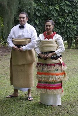 Tongan traditional dress for a wedding (with a little twist - his shirt and bow tie).