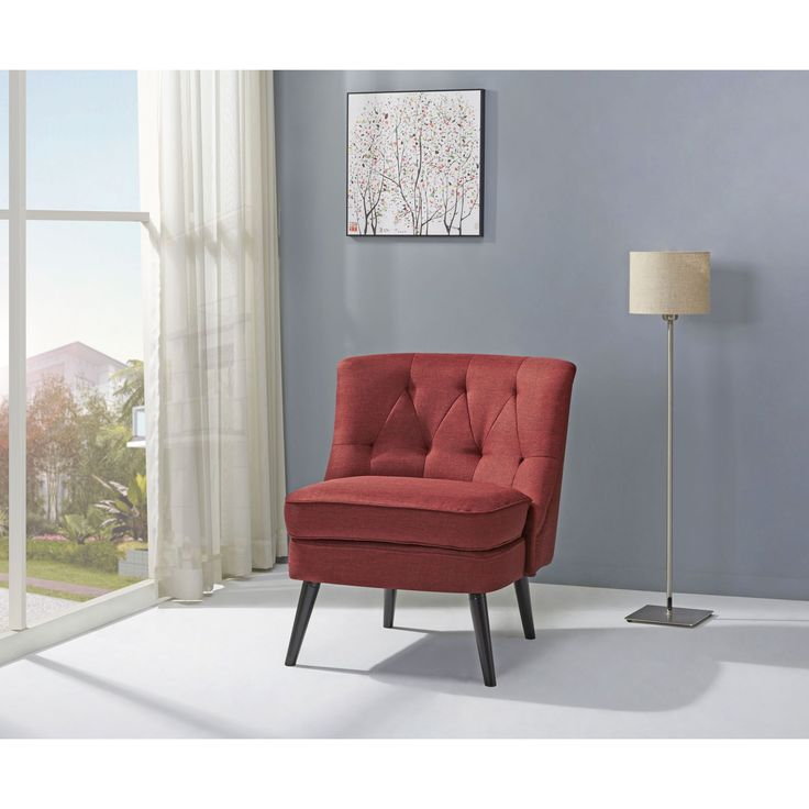 Gold Sparrow Odessa Red Accent Chair (Wood)
