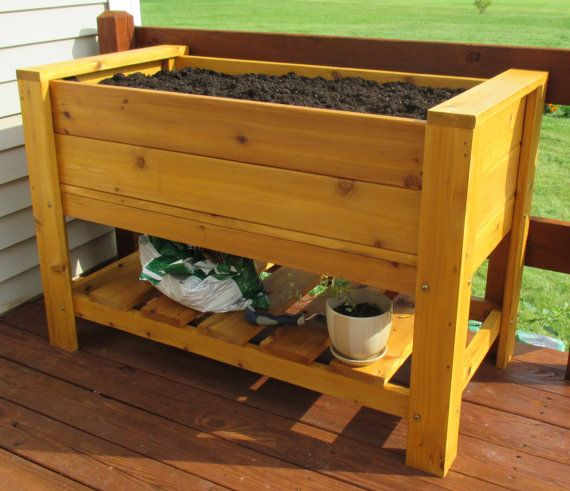 Elevated Planter Box With Shelf Free Shipping by InfiniteWoodCraft