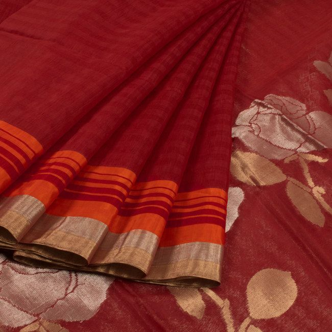 Buy online Handwoven Red Silk Cotton Saree With Zari Border & Floral Pallu 10013709