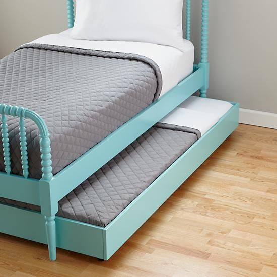 The Land of Nod | Kids Trundles: Light Blue Storage Trundle in Beds