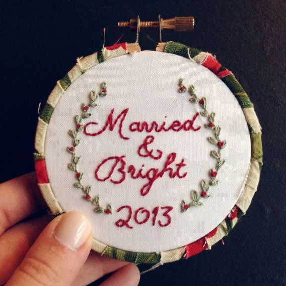 Married & Bright Newlywed Embroidered Christmas Ornament Hoop - Ornaments that commemorate important life events are always cherished for years to come, and you can never have too many Christmas ornaments, especially adorable ones like this! - #Christmas #Newlyweds #FirstChristmas