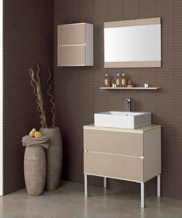 "TOTEM 8  Freestanding 2-drawer vanity with brushed Aluminum legs. Features marble-effect Engineered stone top in beige color with a countertop white ceramic sink with overflow    Vanity: 27.6"" L x 18.9"" W x 29.5"" H  Sink: 18.5"" L x 17.3"" W x 5.9"" H  Mirror : 27.6"" L x 19.7"" H  Resin-composite wall shelf: 27.6"" L x 4.3"" W x 0.5"" T  Two-door wall cabinet: 15.7"" L x 7.3"" W x 19.7"" H    Color: Taupe-Ecru (also offered in White, Cream, Grey, Black, or Wenge)"