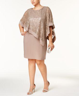 c314e007679 R   M Richards Plus Size Sequined Lace Cape Dress
