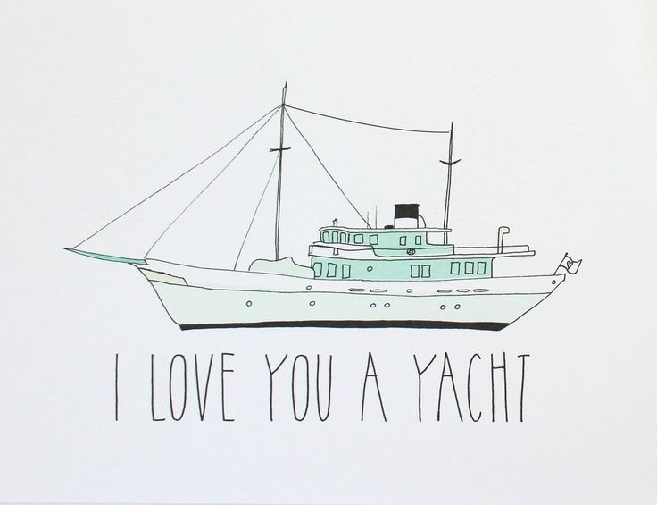 """""""I Love You A Yacht"""" Punny Card"""