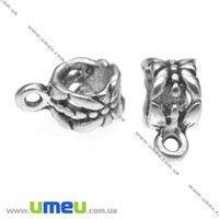 Основа для кулона Бейл, 11х7х7 мм, Античное серебро, 1 шт. (OSN-008507)
