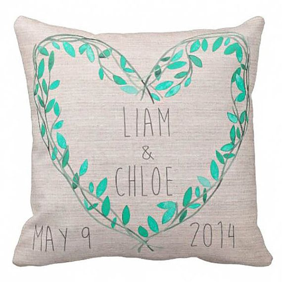 Pillow Cover Wedding Gift Cotton Anniversary Gift Teal Leaves Heart