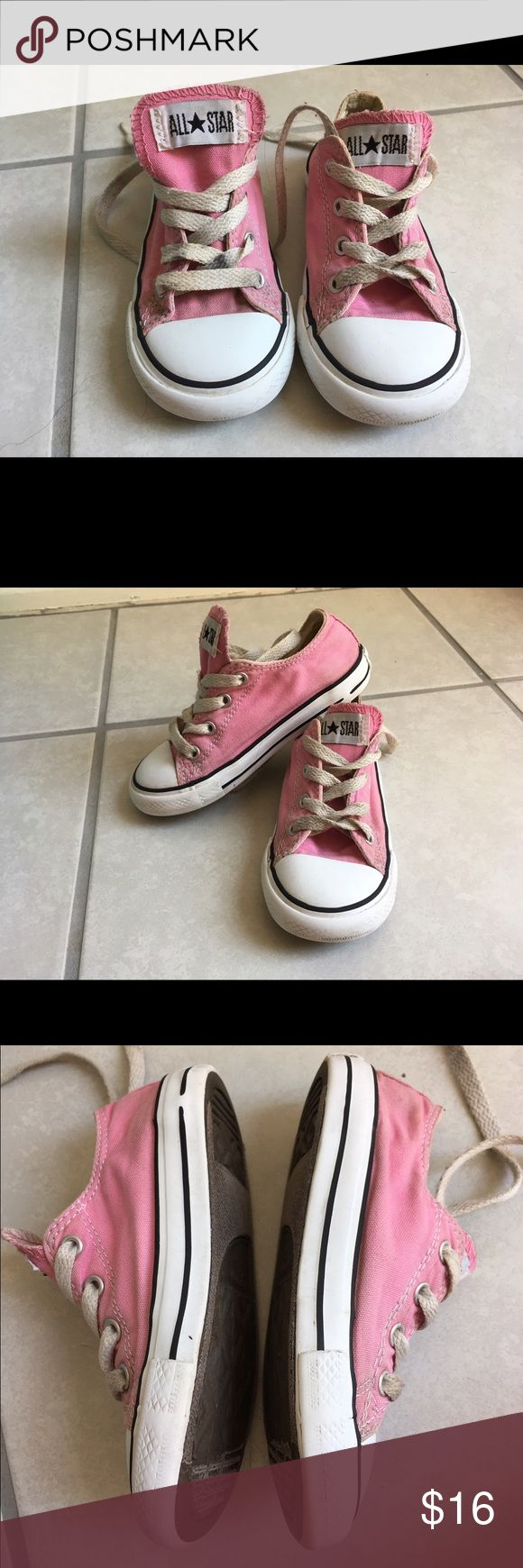 Toddler Converse Used condition! Just cleaned, but could use some new laces- those I couldn't get very clean. They are a size 9 in toddler girls, classic pink, with loads of life left in them. Overall they're in amazing condition for the price, please look at all pictures for condition- if you cave any questions feel free to ask! I have more little girls shoes in my closet! Bundle for discounts! Converse Shoes Sneakers