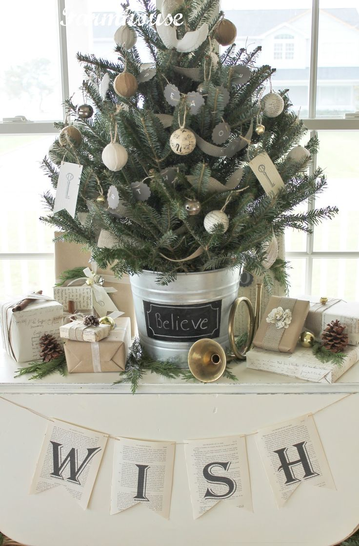 christmas tree - City Farmhouse: Book Page Holiday Banners & Monogram Place Cards