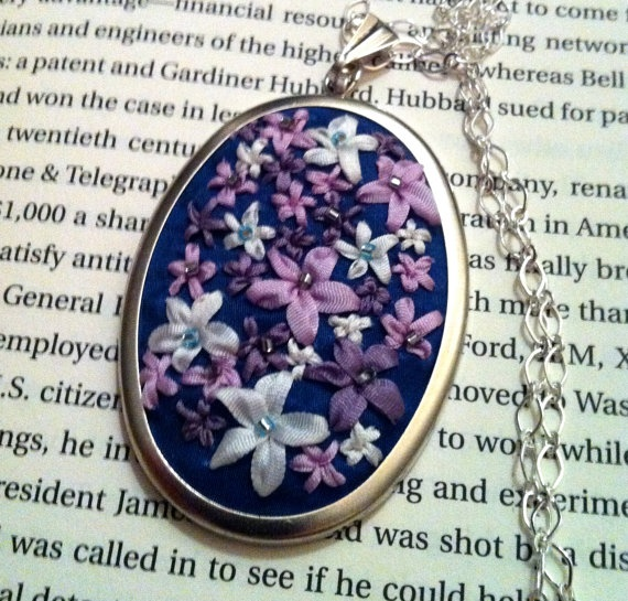 Hand Embroidered Lavender and Blue Flower Pendant Silk RIbbon Embroidery by BeanTown Embroidery