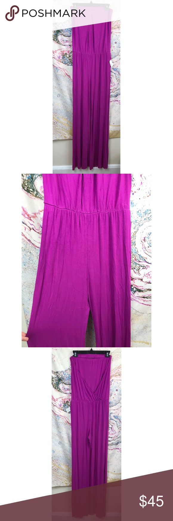 """YF&B Alaia strapless open back jumpsuit romper Med Super cute & brand new women's Young Fabulous & Broke """"Alaia"""" jumpsuit in orchid (purple), size medium. Open drapes back with stretch waist band. Jumpsuit for sale is in orchid, black stock photos are to show fit. Much better looking on than on the hanger!!  Pit to pit: 14"""", rise: 11"""", inseam: 34"""" Young Fabulous & Broke Pants Jumpsuits & Rompers"""