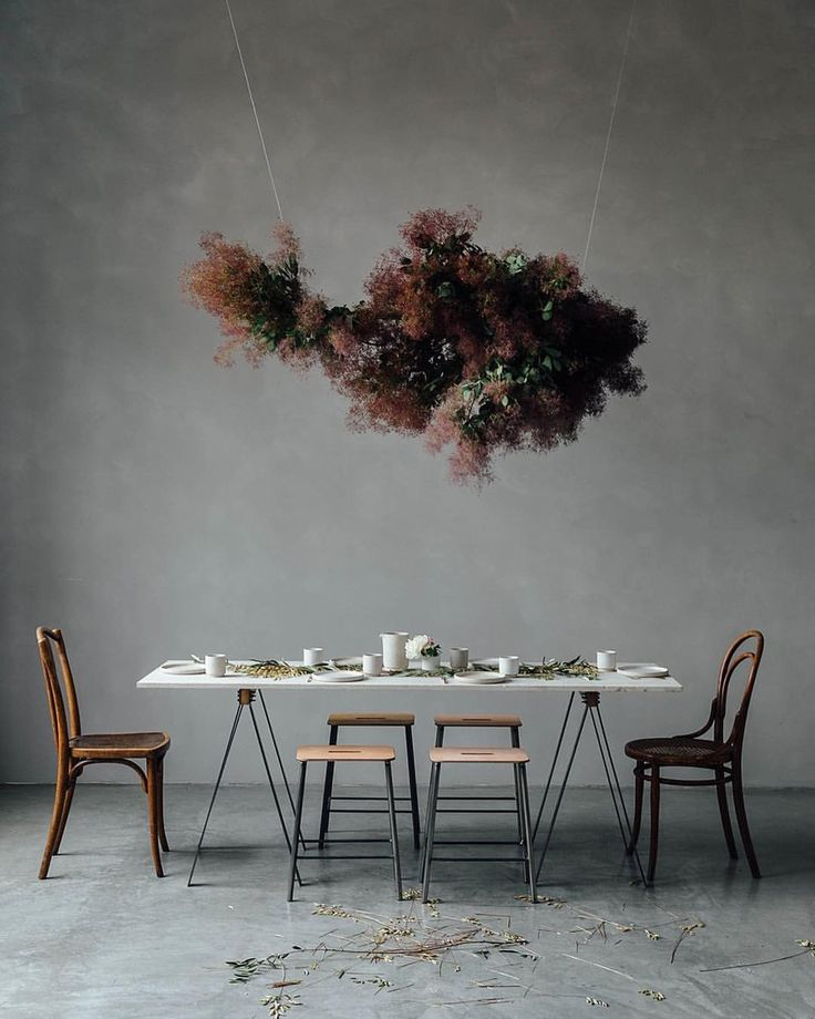 Studio gathering for our booklaunch with Frama CPH. Vintage thonet chairs meets industrial elements. Flower installation by Ruby Mary Lennox.