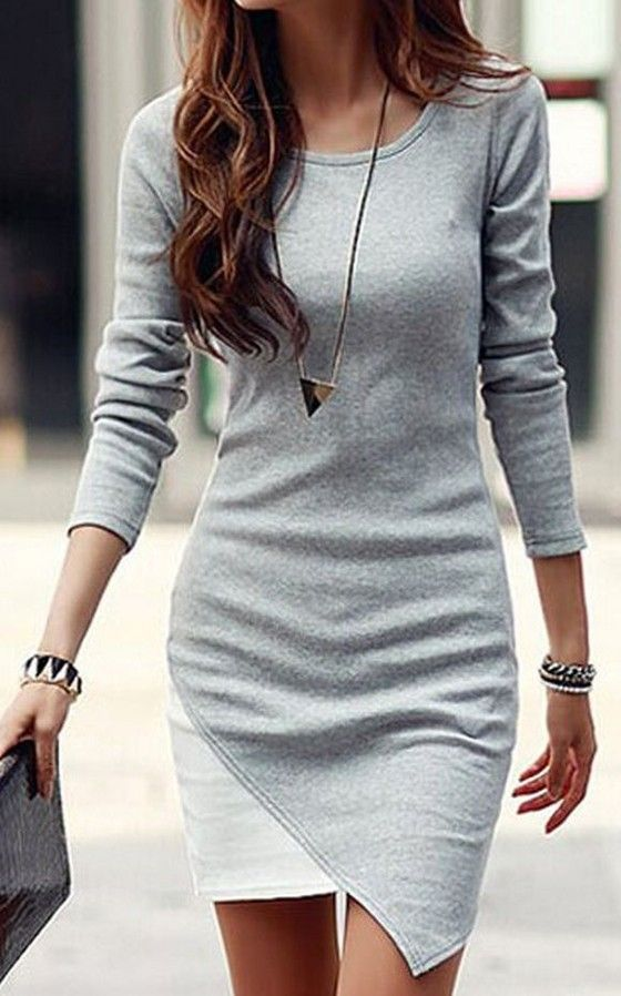c49d6185746 I like the idea of a dress with some sleeves and I really like the asymmetrical  hem line on this one  dressescasual. Grey-White Patchwork Irregular Hem Long  ...