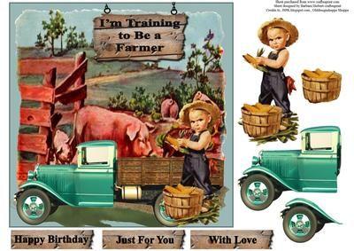 Farm Boy Card Topper with Decoupage on Craftsuprint - Add To Basket!