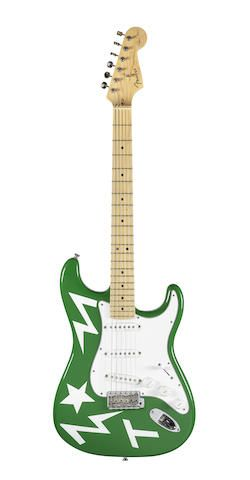 Ed Sheeran:  'Green T' Fender Stratocaster Eric Clapton Signature Model guitar used by Ed Sheeran on his X world tour 2015,Sold for £12,500