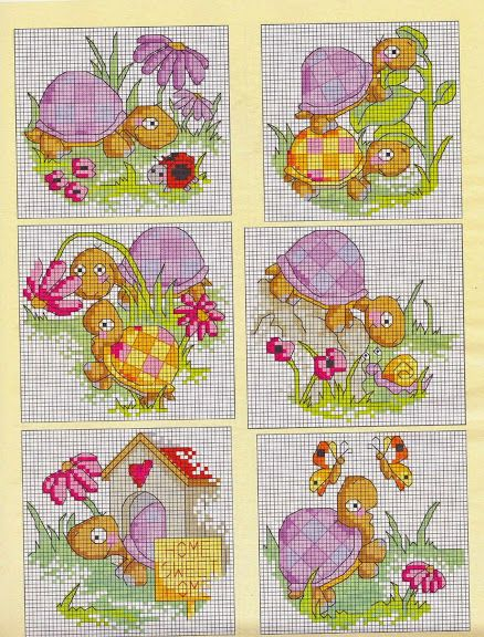 Cross-stitch Cute Lil Turtles  ... no color chart available, just use pattern chart as your color guide.. or choose your own colors...     21 - galbut - Álbumes web de Picasa