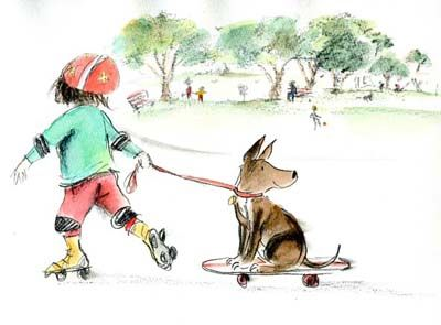 Ann James - original artwork, 'Can I skate?' from picture book  Ready, Set, SKIP!