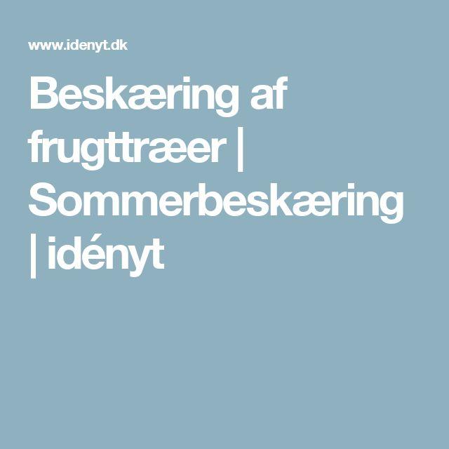 Beskæring af frugttræer   Sommerbeskæring   idényt