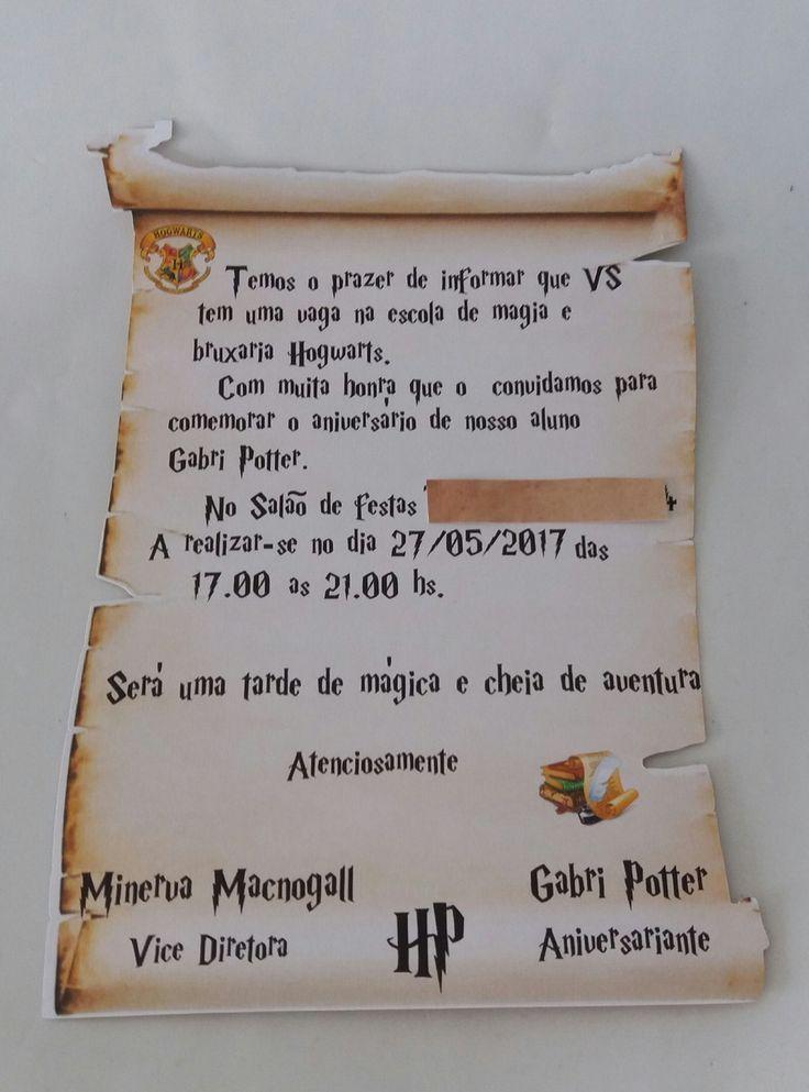 convite Harry Potter | Ideia artes em papel | Elo7