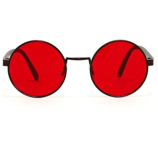 Color Sunglass ($30) ❤ liked on Polyvore featuring accessories, eyewear, sunglasses, glasses, jewelry, circular glasses, circle lens sunglasses, circular sunglasses, circle glasses and red lens sunglasses