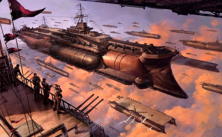 Dieselpunk airship artwork from Iron Grip by Keith Thompson.