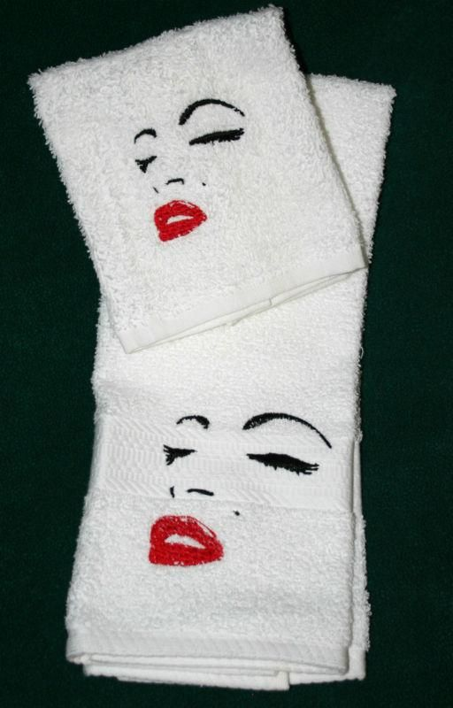 Marilyn Monroe Facial Outline 1 Hand towel 1Cloth Set New machine embroidered