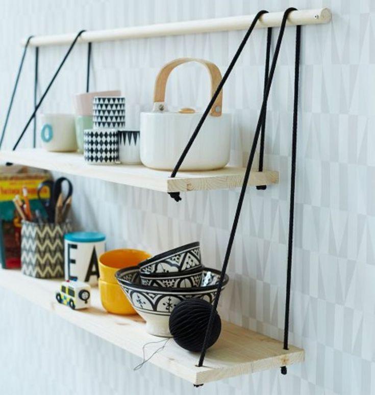 Tee itse pikkuhyllykkö astioille. Hyllystä tulee vakaa, kun kiinnität narut huolellisesti myös ripustusrimaan.