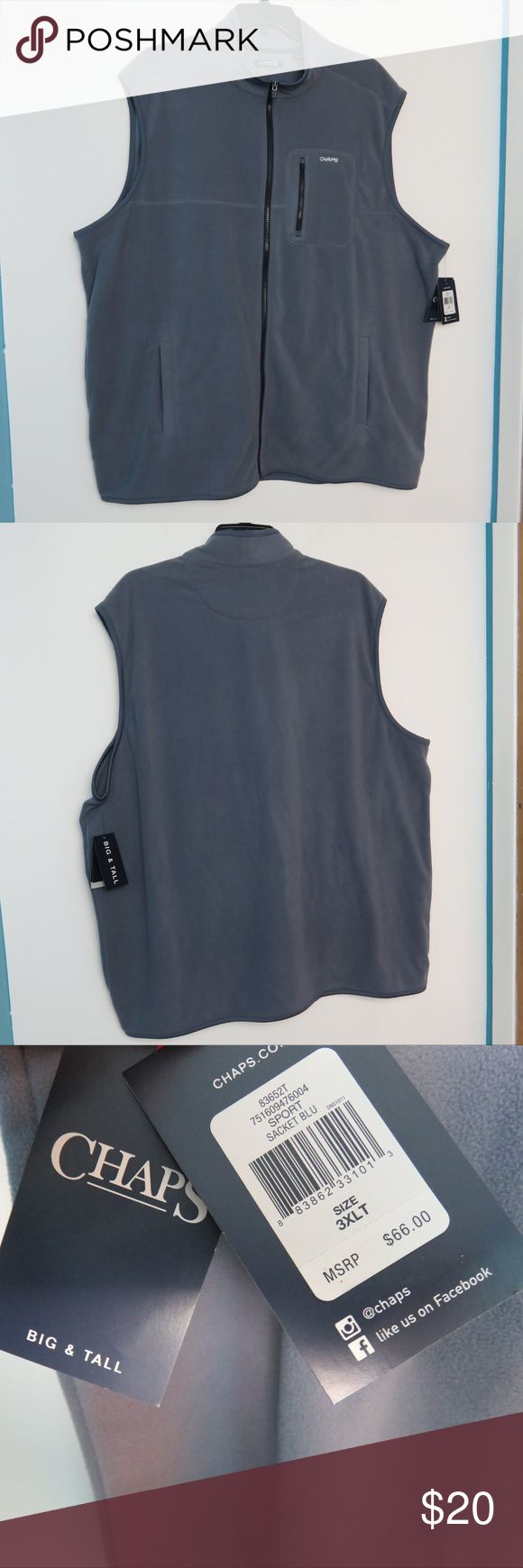"""Chaps Sport 3XLT 3XL Fleece Vest Blue Gray NWT NWT new with tags retail price $66 Men's 3XLT, 3XL, 3XB Chaps Sport Big & Tall  Full zip Front Sleeveless Fleece Vest Blue Gray Grey ( Sacket Blu ) 100% Polyester 3 Pockets  Bought for golf in chilly weather  Measures chest underarm to underarm 31"""" Length 34"""" 6.6 bin 26 MP UPC: 883862331013 Don't forget you can always bundle other items and pay one shipping price Chaps Jackets & Coats Vests"""