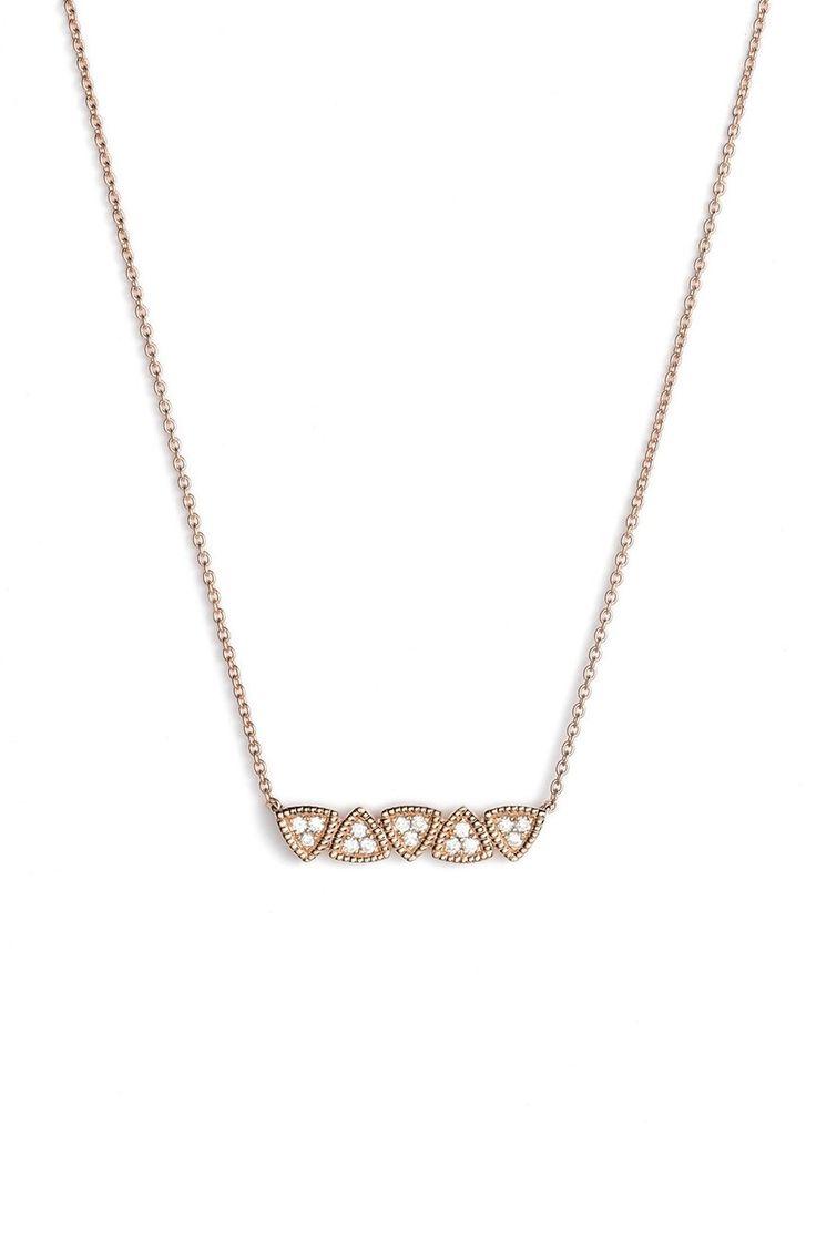 Dana Rebecca Designs Emily Diamond Bar Pendant Necklace in Rose Gold