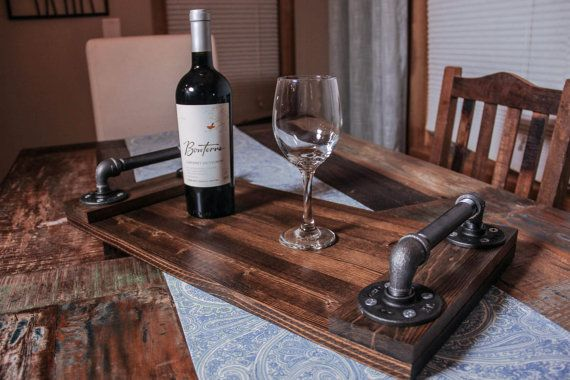 Our Industrial Serving Tray is handcrafted from hardwood, black galvanized…