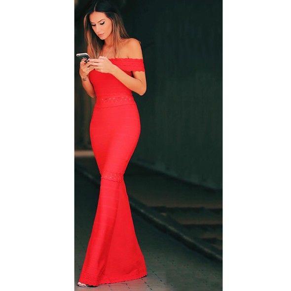 Vestido-Longo-Bandagem-Ombro-a-Ombro-Vermelho-Esmeral